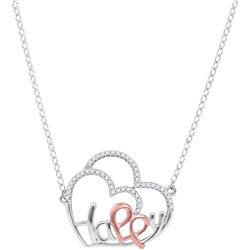 10kt White Gold Womens Round Diamond Heart Happy Pendan