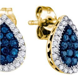 10K Yellow-gold 0.53CT BLUE DIAMOND FASHION EARRINGS
