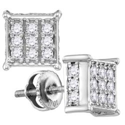 10kt White Gold Womens Round Diamond Square Cluster Scr