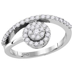 10kt White Gold Womens Round Natural Diamond Cluster Fa