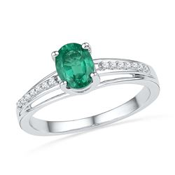 10kt White Gold Womens Oval Lab-Created Emerald Solitai