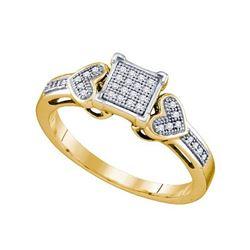 10K Yellow-gold 0.10CT DIAMOND MICRO PAVE RING