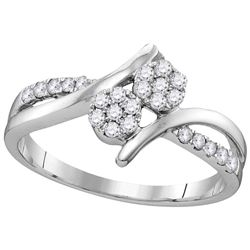 14kt White Gold Womens Round Natural Diamond 2-stone Br