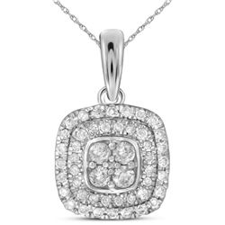 14kt White Gold Womens Round Natural Diamond Square Clu