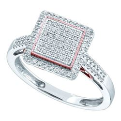 10KT White Gold 0.30CTW DIAMOND SQARE FASHION RING