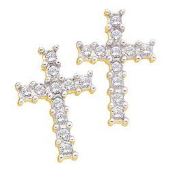 10KT Yellow Gold 0.11CTW DIAMOND CROSS EARRINGS
