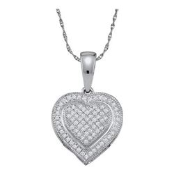 10KT White Gold 0.15CT ROUND DIAMOND MICRO PAVE HEART P