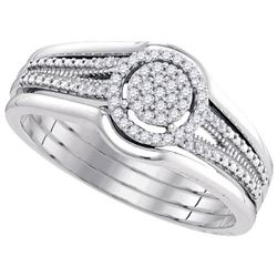 10KT White Gold 0.15CTW-Diamond MICRO-PAVE BRIDAL SET