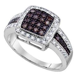 10KT White Gold 0.49CTW COGNAC DIAMOND LADIES FASHION R