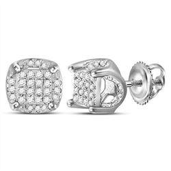 10kt White Gold Mens Round Diamond Cluster Stud Earring