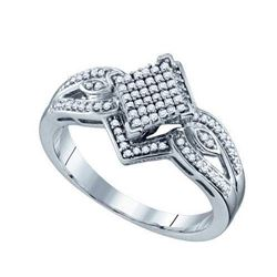 10KT White Gold 0.25CTW DIAMOND LADIES MICRO PAVE RING