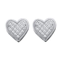 10KT White Gold 0.10CTW DIAMOND HEART EARRINGS
