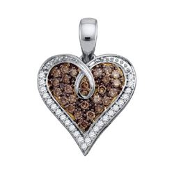 10KT White Gold 0.51CT COGNAC DIAMOND HEART PENDANT