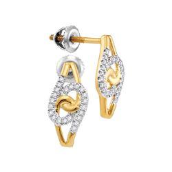 10kt Yellow Gold Womens Round Diamond Swirl Cluster Stu