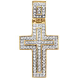 10kt Yellow Gold Mens Round Diamond Christian Cross Lay