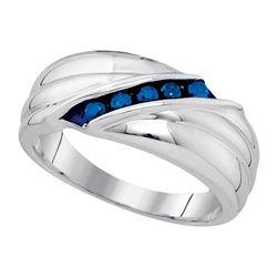 925 Sterling Silver White 0.33CTW-BLUE DIAMOND MENS RIN