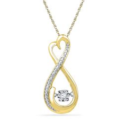 10kt Yellow Gold Womens Round Natural Diamond Infinity