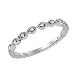 14kt White Gold Womens Round Diamond Stackable Band Rin