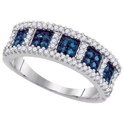 10KT White Gold 0.45CTW BLUE DIAMOND MICRO-PAVE RING