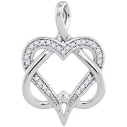 10KT White Gold 0.10CTW-Diamond HEART PENDANT