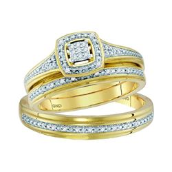10kt Yellow Gold His & Hers Round Diamond Cluster Match