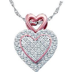 10kt White Gold Womens Round Diamond Rose-tone Heart Cl