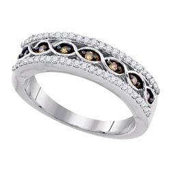 10K White-gold 0.38CTW-DIA COGNAC DIAMOND FSAHION BAND
