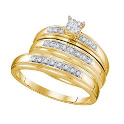 10KT Yellow Gold 0.20CTW DIAMOND CLUSTER TRIO SET