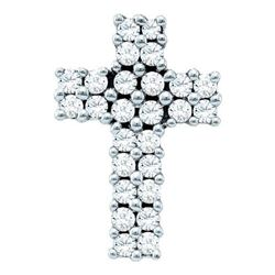 14KT White Gold 0.34CTW DIAMOND CROSS PENDANT