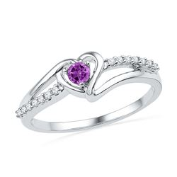 10kt White Gold Womens Lab-Created Amethyst Heart Love