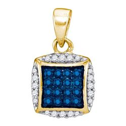 10K Yellow-gold 0.25CTW BLUE DIAMOND MICRO-PAVE PENDANT