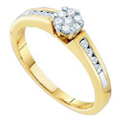 10KT Yellow Gold 0.27CTW DIAMOND LADIES FLOWER RING