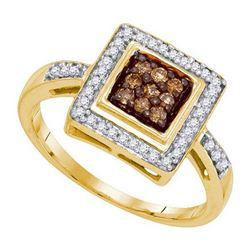 10KT Yellow Gold 0.25CTW COGNAC DIAMOND MICRO-PAVE RING