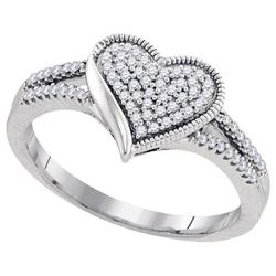10KT White Gold 0.19CTW DIAMOND MOCRO-PAVE HEART RING