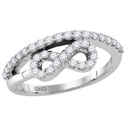 Womens 10K White Gold Infinity Knot Diamond Fashion Des
