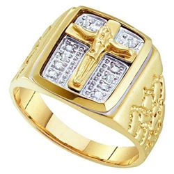 10K Yellow-gold 0.01CTW ROUND DIAMOND MENS CROSS FASHIO