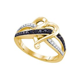 10K Yellow-gold 0.36CTW BLACK DIAMOND LADIES HEART RING