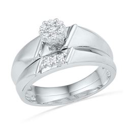 10KT White Gold 0.13CTW DIAMOND FASHION BRIDAL SET