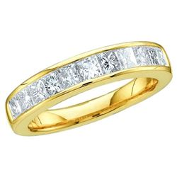 14KT Yellow Gold 0.25CTW PRINCESS DIAMOND LADIES INVISI