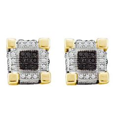 10KT Yellow Gold 0.29CTW DIAMOND MICRO PAVE EARRINGS