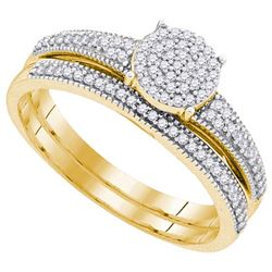 10K Yellow-gold 0.25CTW DIAMOND MICRO-PAVE BRIDAL SET