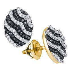 10K Yellow-gold 0.45CTW BLACK DIAMOND MICRO-PAVE EARRIN