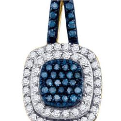 10K Yellow-gold 0.50CT BLUE DIAMOND FASHION PENDANT