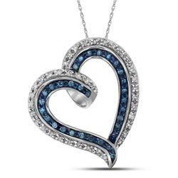 10kt White Gold Womens Round Blue Colored Diamond Outli