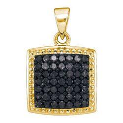 14K Yellow-gold 0.50CTW BLACK DIAMOND MICRO-PAVE PENDAN