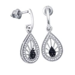 10KT White Gold 0.25CT BLACK DIAMOND MICRO-PAVE EARRING