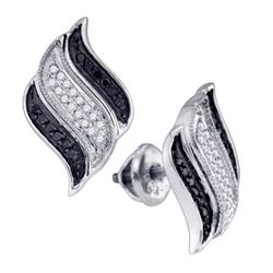 10KT White Gold 0.25CT BLACK DIAMOND MICROPAVE EARRING