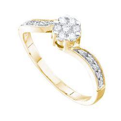 14KT Yellow Gold 0.25CTW DIAMOND FLOWER RING