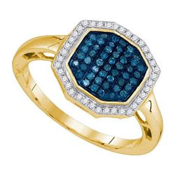 10K Yellow-gold 0.33CTW BLUE DIAMOND FASHION RING