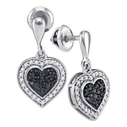 10KT White Gold 0.50CTW BLACK DIAMOND MICRO-PAVE EARRIN